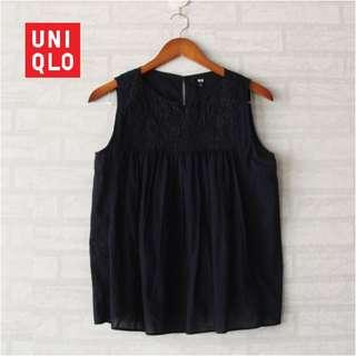 Uniqlo Navy Top Embroidered