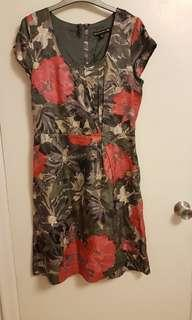 Red and grey floral watercolour Banana Republic sheath dress (size 8)
