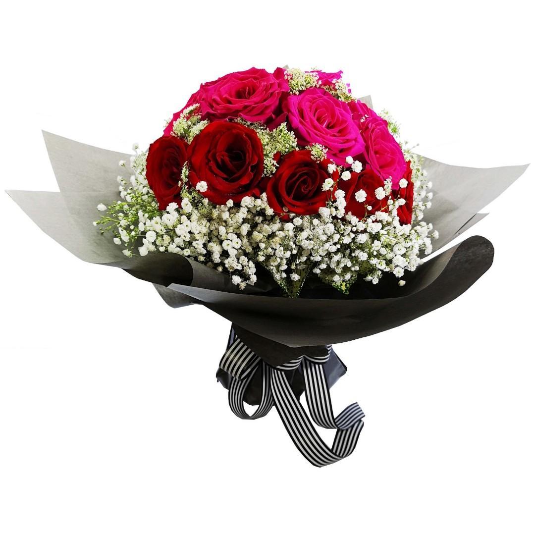 21枝混合色玫瑰花束(11枝美國玫紅色玫瑰+10枝肯亞深紅色玫瑰)