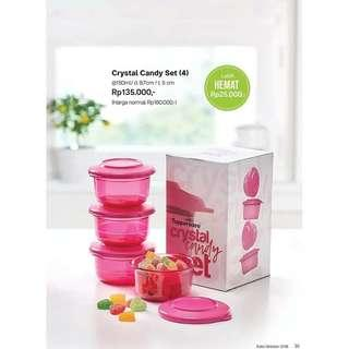 Crystal Candy canister isi 4 free box original Tupperware