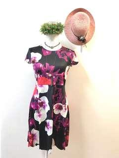 High neck dress floral