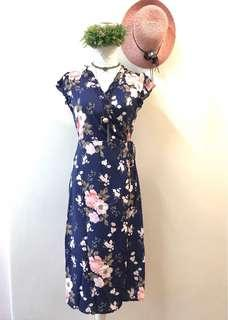 Floral dress navy blue wrap dress