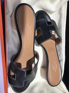 Oasis Veau Sandale Noir Pique Ecrues Size 35