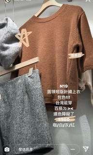 🚚 全新轉賣正韓 9.amze 圓領短袖針織上衣 咖色