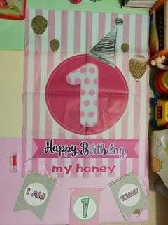 2手 生日用品 (海報+3角旗+蠟燭)