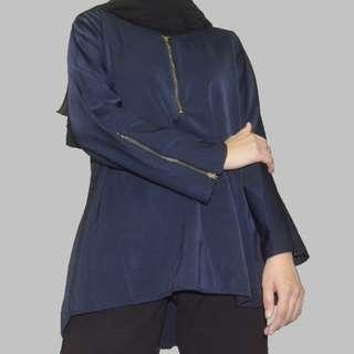 Navy Blouse with Zipper #MFEB20