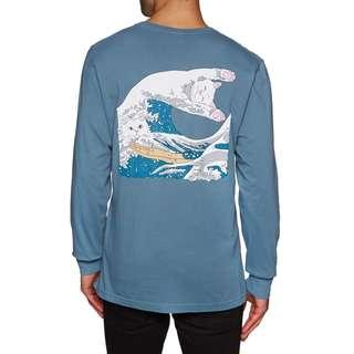 RipNDip Great Wave T Shirt Long Sleeve Slate