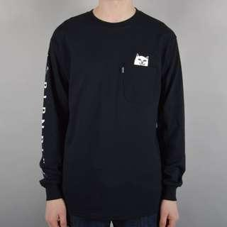 RipNDip Lord Nermal Pocket T Shirt Long Sleeve Black