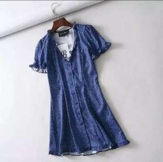 Blue Floral Button Dress
