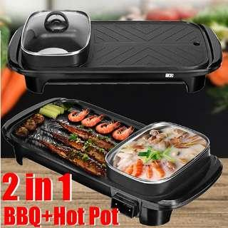 Electric Barbecue Pan Grill Teppanyaki Cook Fry BBQ Oven Hot Pot Kitchen