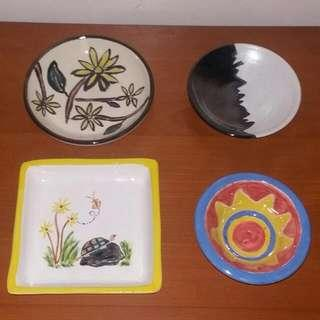 Handmade Ceramic Containers Four Pc Lot
