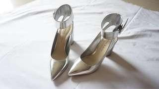 [Charles & Keith] Silver Rounded Heels with Ankle Strap