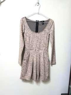 🚚 [售/換] H&M 粉灰花紋棉質百折洋裝