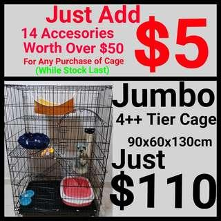 Cat Cage Pet Cage Jumbo 4++ Tier Cage