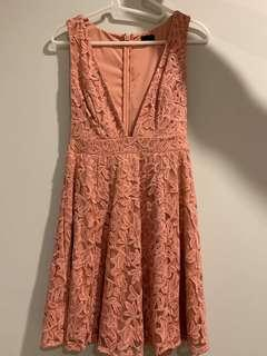 Floral crochet fit and flare dress in pink