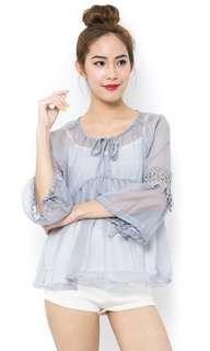 🚚 Chiffon Grey Crochet Sleeves Top