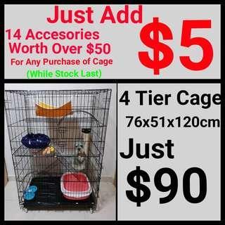 Cat Cage 4 Tier Pet Cahe Suitable for kitten, cat, rabbit, bird