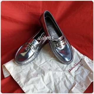 🛑Sz 8 Salvatore Ferragamo Gancini Silver Loafers Driving Shoes