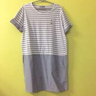 🚚 Imoda XL Striped Denim Dress with Pockets & with Turn-Up Sleeves