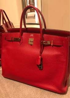 authentic Hermes-birkin 40 togo rouge garace