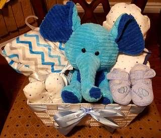 Baby boy gift basket with 4 pieces matching set 100% cotton