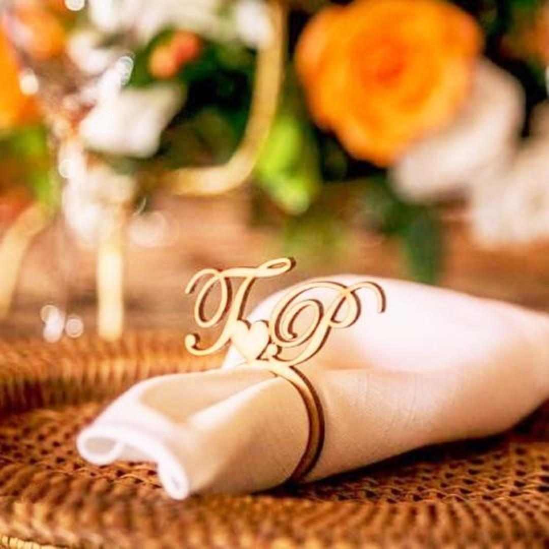50 Pcs Personalized Napkin Ring With Laser Cut Initials In Wood Design Craft Others On Carousell