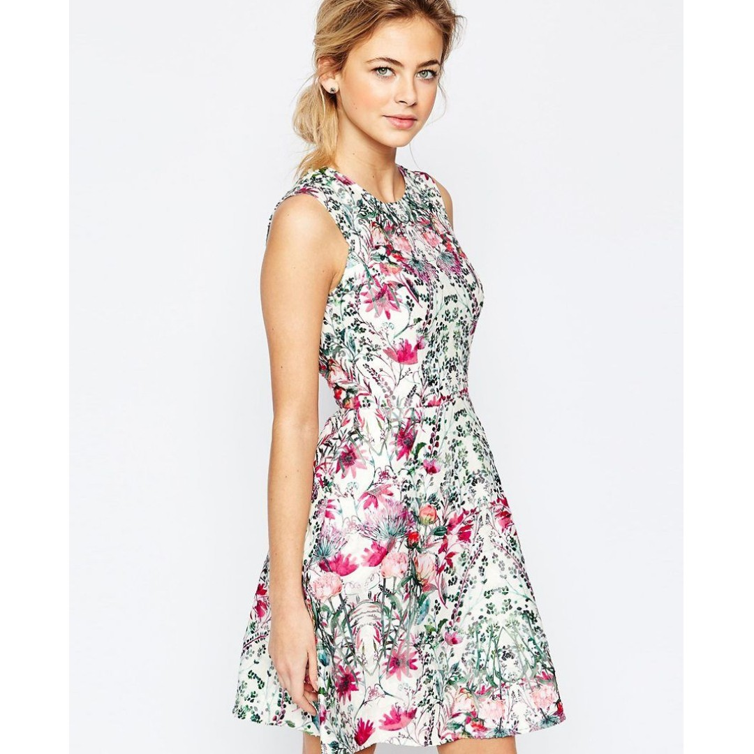 a269907cd 🇬🇧-70%🇬🇧 TED BAKER Layered Bouquet Skater Dress, Women's Fashion ...
