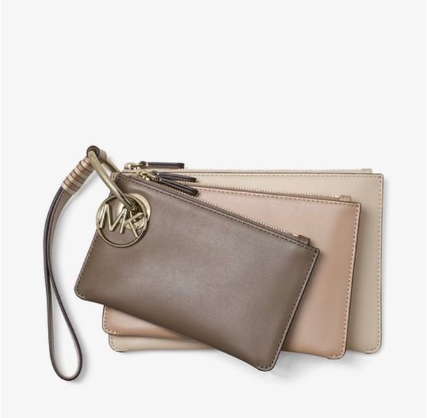 036a5a0668f5 💯 Authentic Michael Kors trio leather pouch clutch brown tone ...