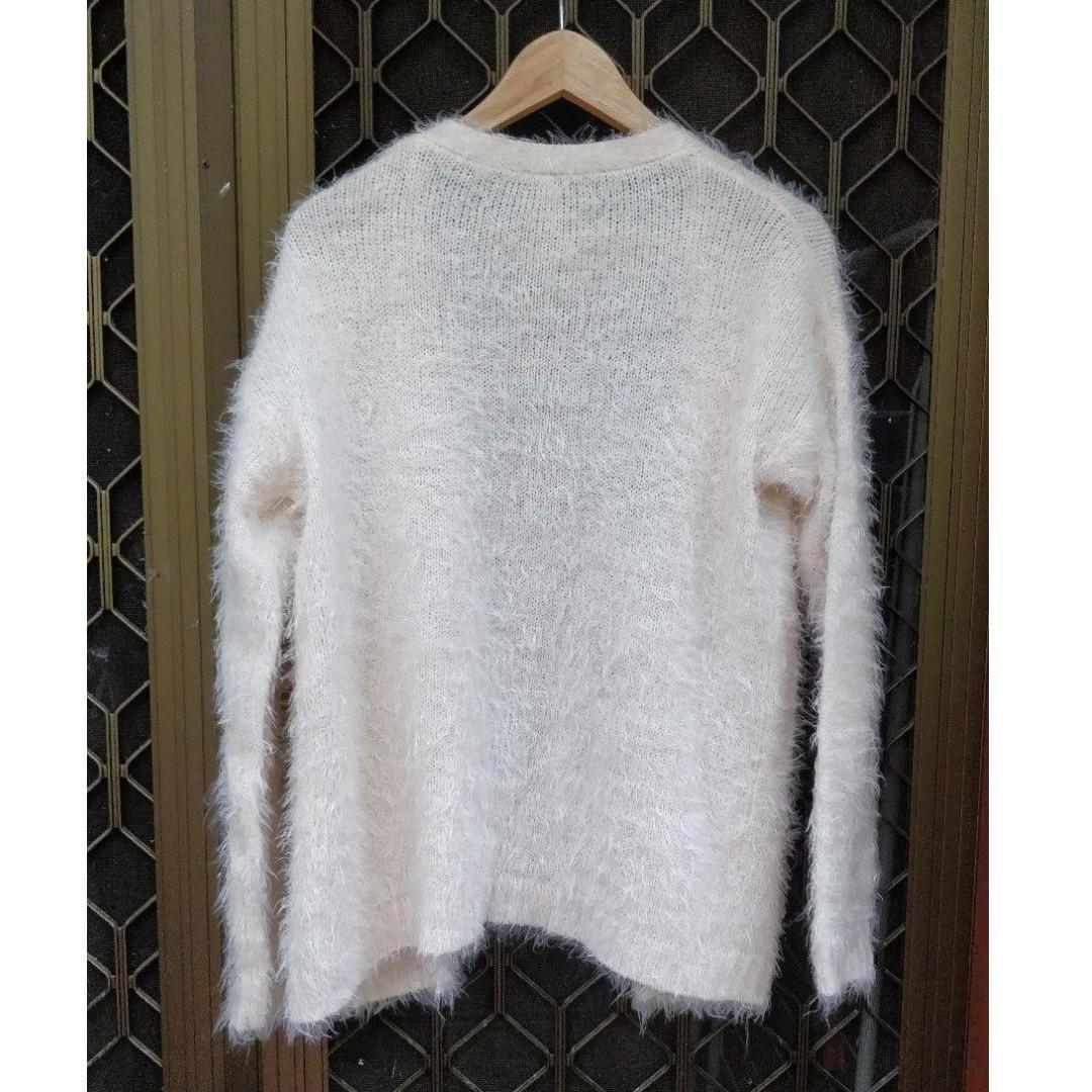 ALLYFASHION Fluffy Cardigan Pale Pink Cream Fur Winter Jumper Boohoo Missguided