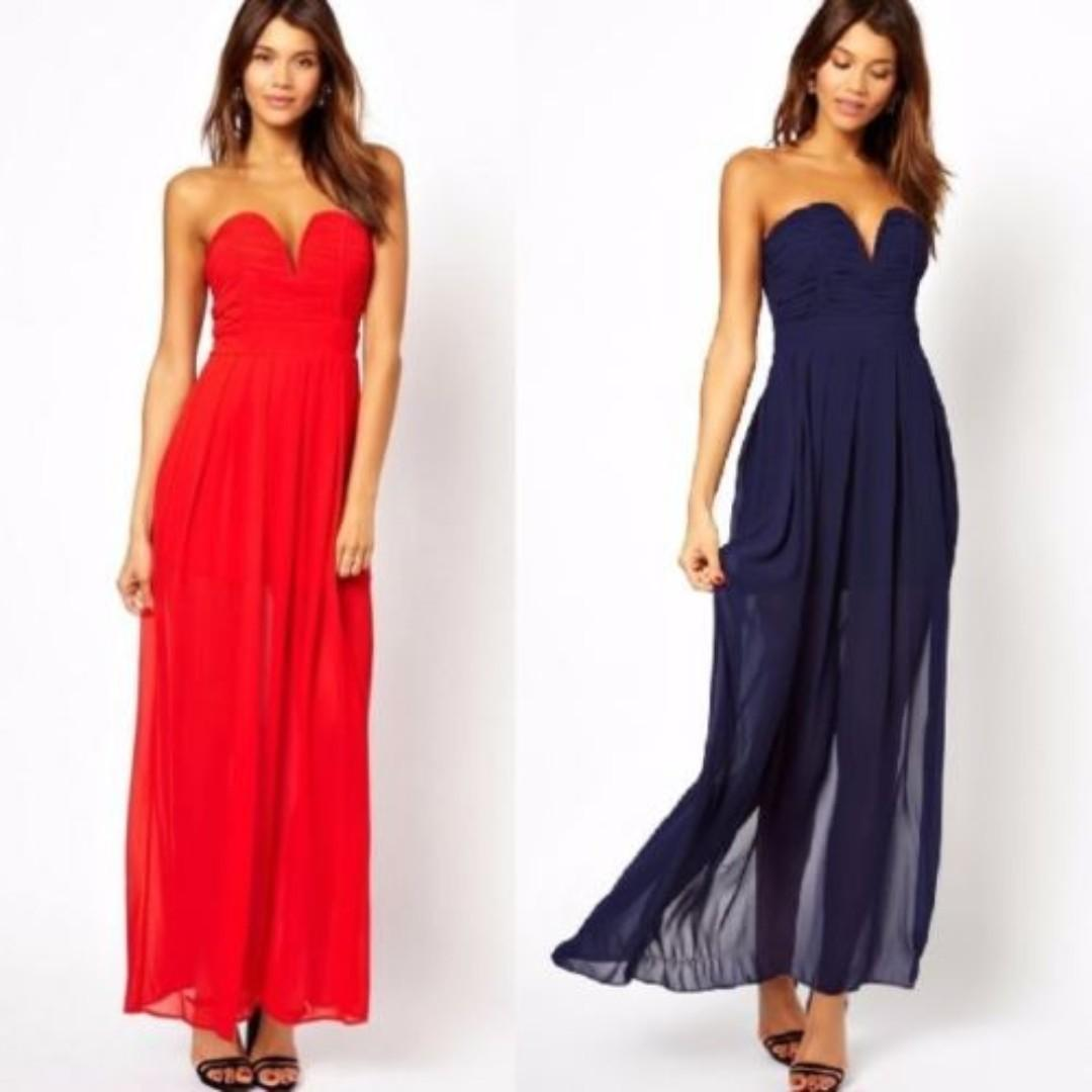 ASOS Red Maxi Dress Plunge Bustier Side Thigh Split Formal Gown Wedding Sheer