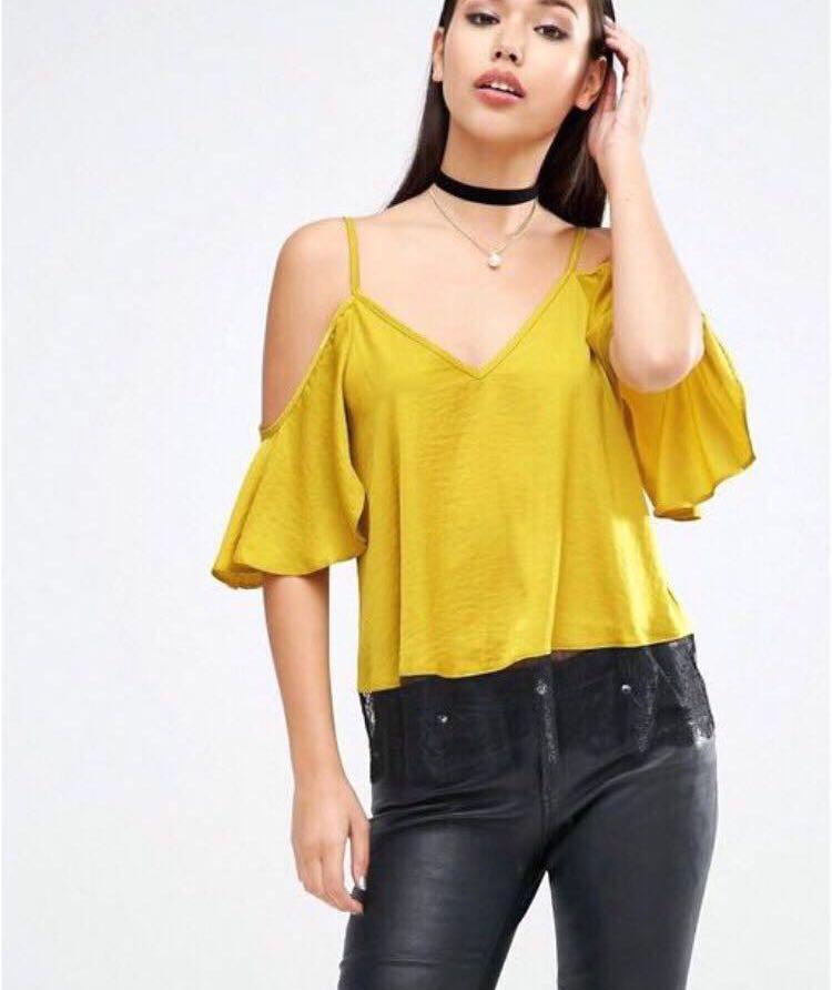 277cff1f2c6f03 Asos Yellow   Black Lace Satin Cami Off Shoulder Top