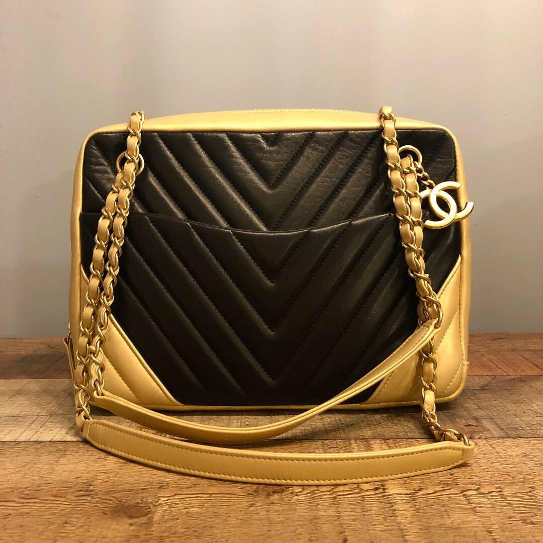 e0199e3aa22d Authentic Chanel Chevron Black with Champagne Gold Borders Camera ...