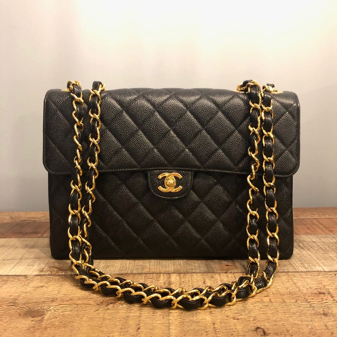 7ab52a816915 Authentic Chanel Jumbo Caviar Classic Flap Bag w 24k Gold Hardware ...