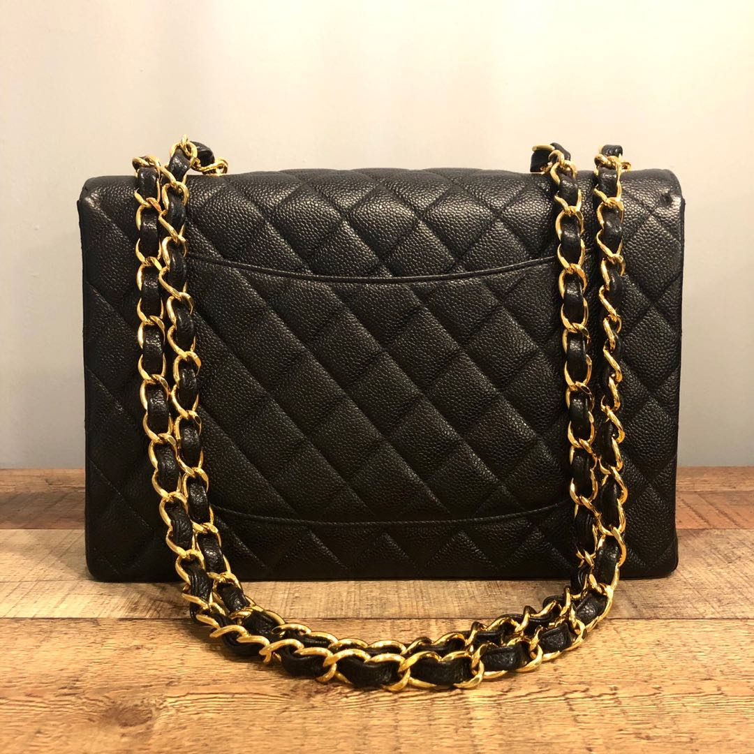 30d5a07565c3 Authentic Chanel Jumbo Caviar Classic Flap Bag w 24k Gold Hardware, Luxury,  Bags & Wallets, Handbags on Carousell