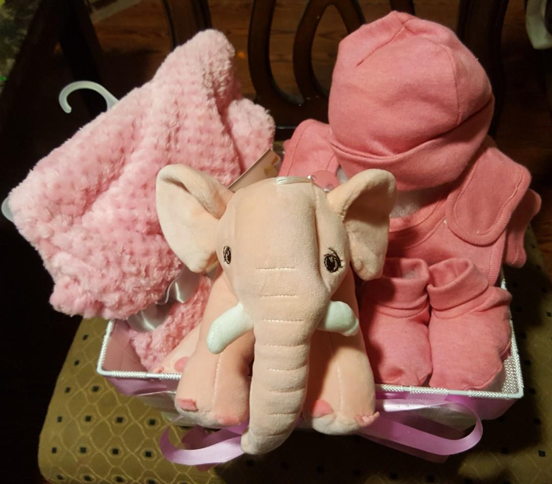 Baby Girl Gift Basket with 4 pieces matching set 100% cotton