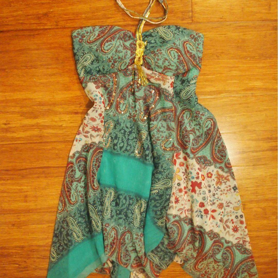 String Halter Neck Tassel Dress with Sequin and Crystal Design
