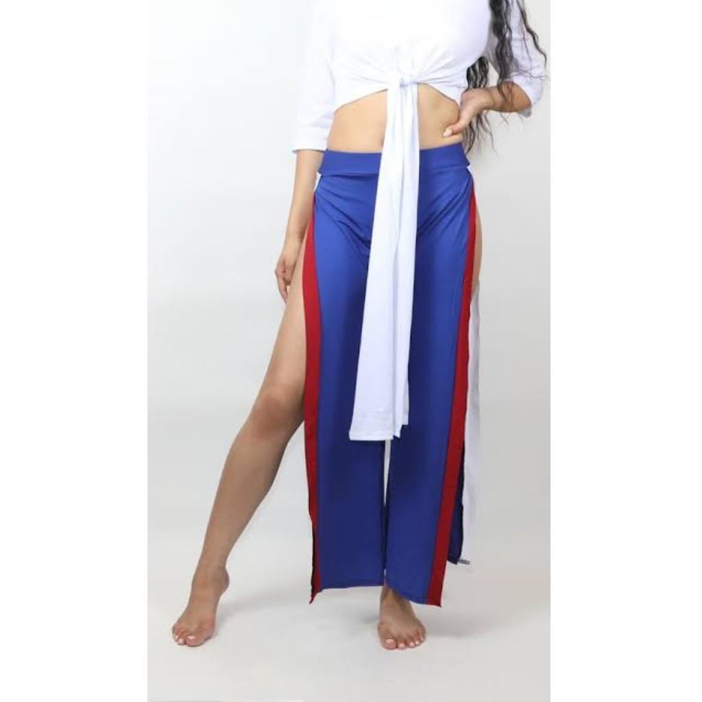 Blue Slit Pants White Red
