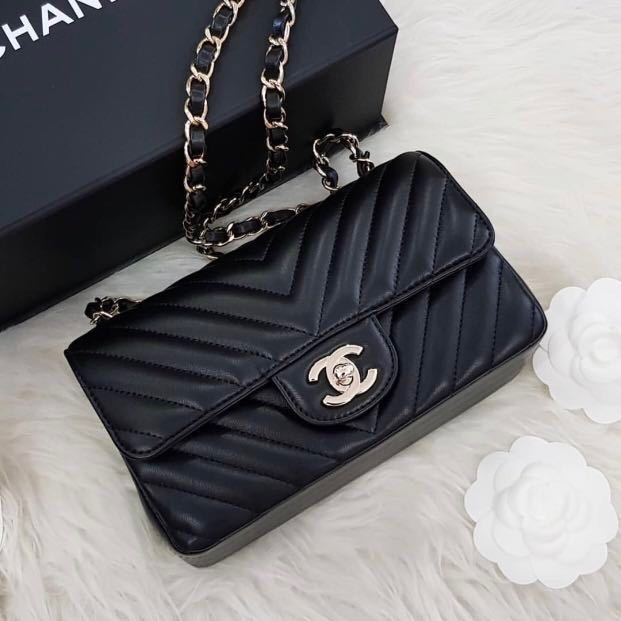 aa6766deb7d6 BNIB CHANEL MINI RECTANGULAR LIGHT GOLD HARDWARE LGHW, Luxury, Bags ...