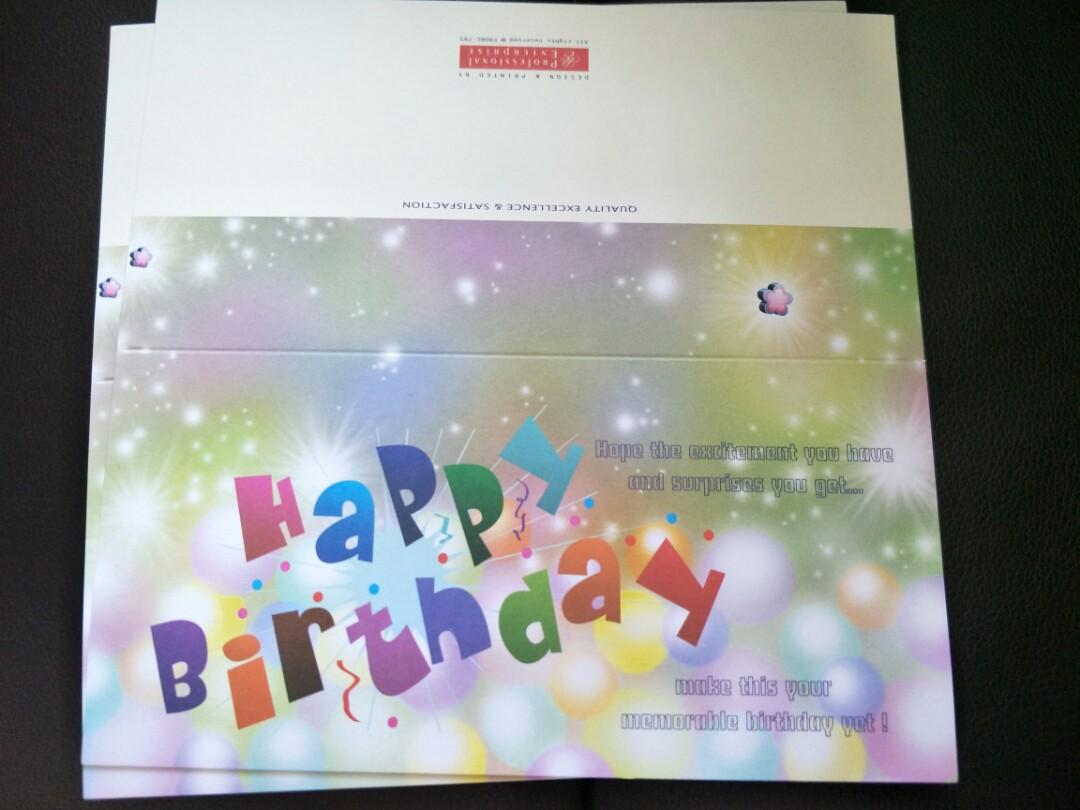 BNIB Happy Birthday Cards In 4 Different Designs 6 Pieces Design