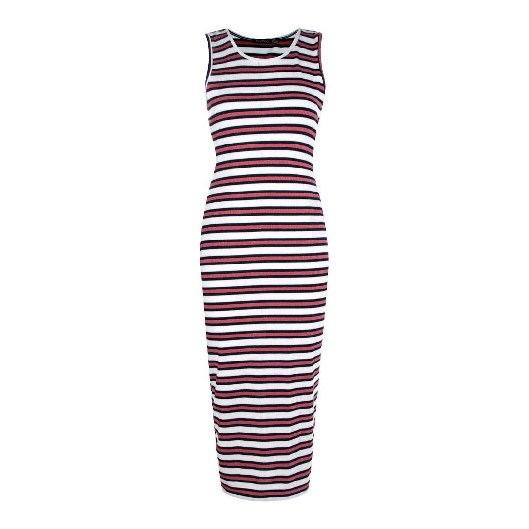 BOOHOO Nautical Striped Midi Dress Sleeveless Bodycon White Blue Gold Pattern