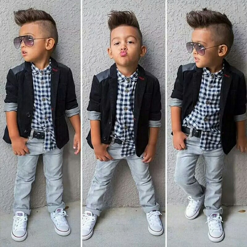 0e98ab1e Cool Gentleman Plaid 3pcs Boys Clothes Set Children Outfits ...