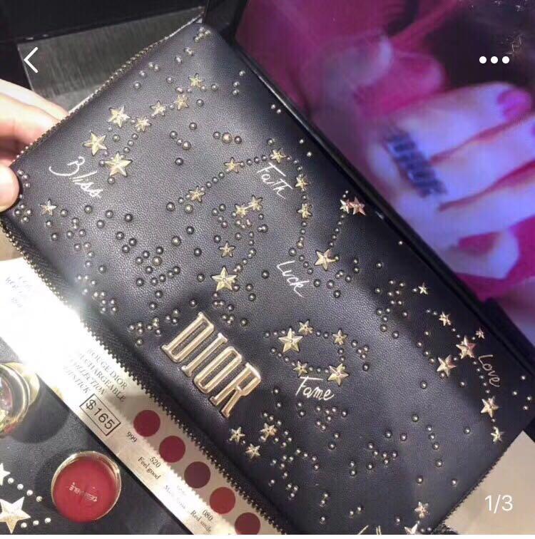 Dior限量版星空套裝,有5支doir唇膏+dior袋