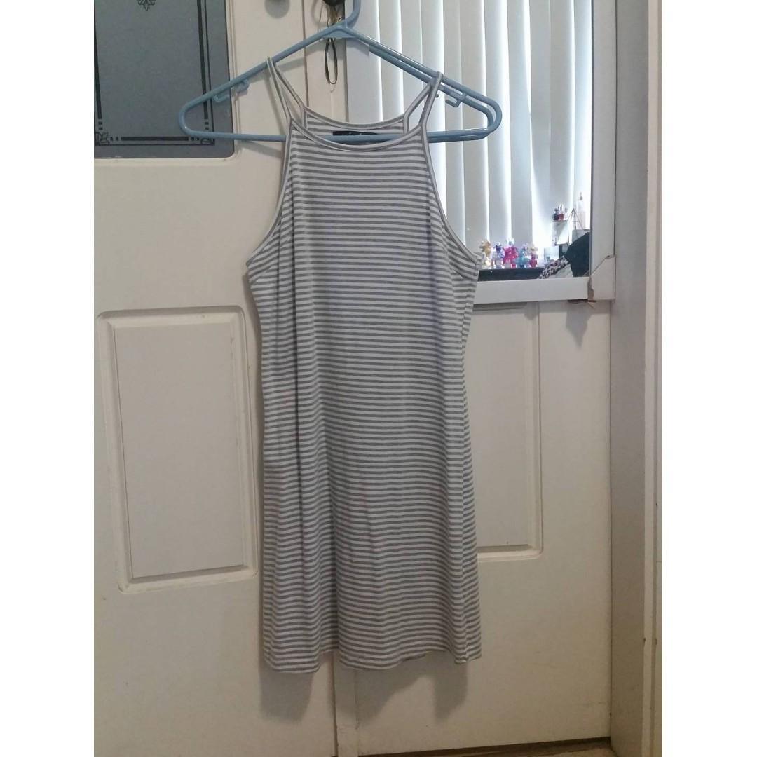 DOLLYGIRLFASHION Paradise Dress Grey White Striped Mini Dress High Neck Strappy dollygirl stelly showpo glassons dotti