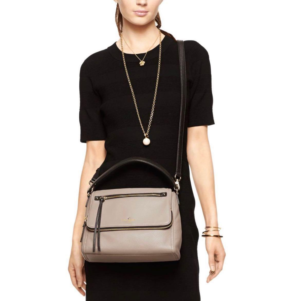 Kate Spade Cobble Hill Small Toddy Leather Shoulder Crossbody Tote Bag in Cement/Black - Like New