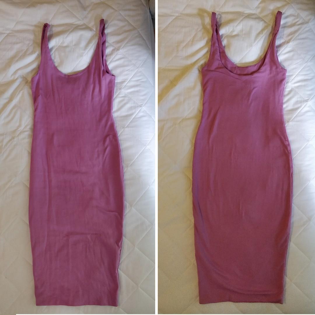 KOOKAI Pink Midi Dress Bodycon Style Scoop Neck Tight Lavender Toned