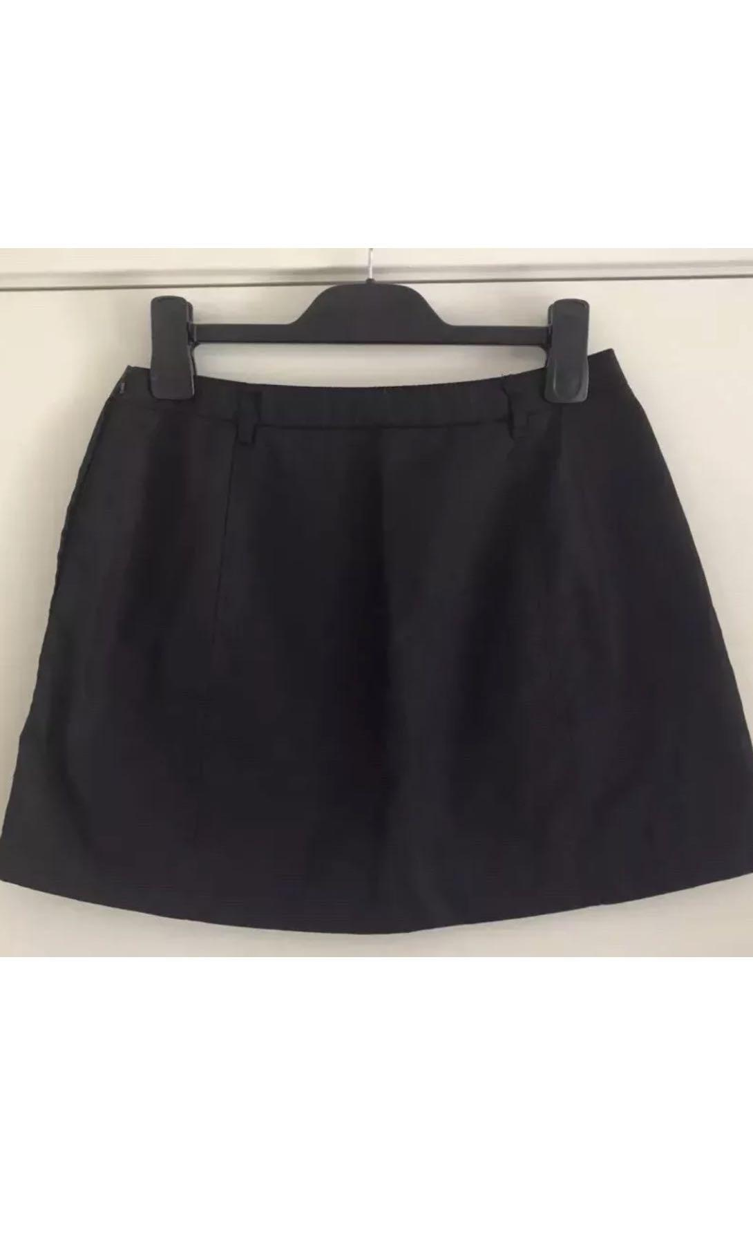 Ladies PRADA Black Mini Skirt. Fits Small. Made In Italy