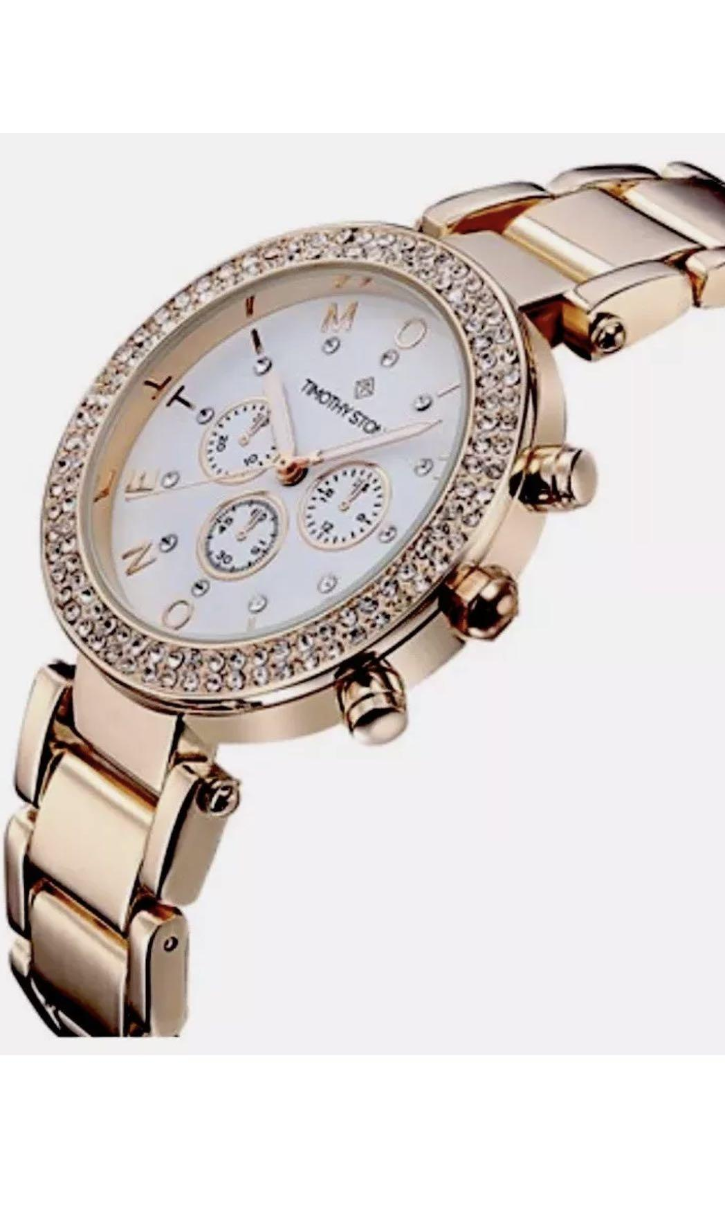 Ladies TIMOTHY STONE Desire Rose Gold Swarovski Watch. New $230