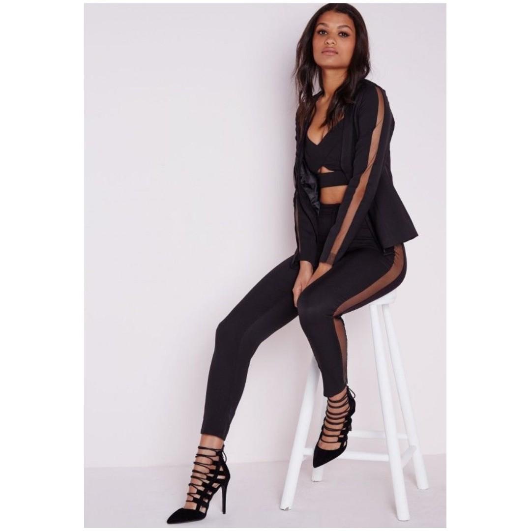 MISSGUIDED black tailored trousers sheer mesh side pants kylie jenner meshki kookai sheike