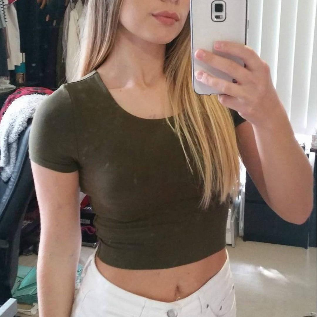 MOSSMAN Khaki Crop Top Double Layer Cotton Short Sleeve Cropped Shirt Olive Army