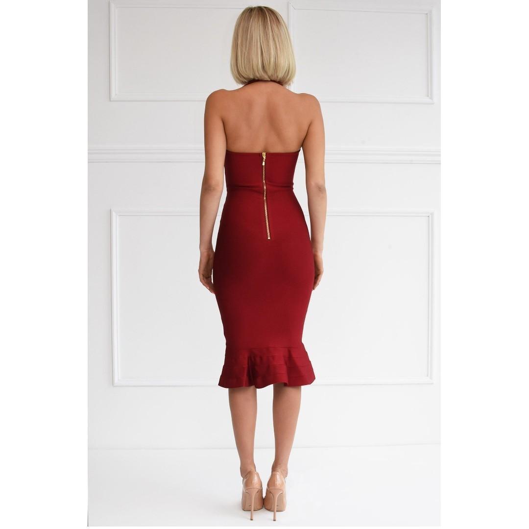 NOODZ BOUTIQUE Helen Dress Burgundy Bandage Midi Mermaid Fishtail Wine Red